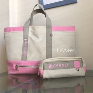 c98380efcb58 Chanel Sport XL canvas beach tote in Pink/Khaki 💗